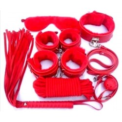 Luxury 7 Piece Bondage Kit - Red
